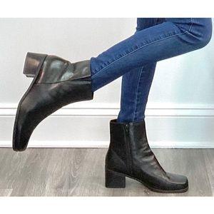 Madeline Stewart vintage leather block heel boots